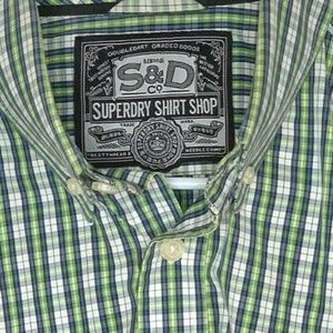 SUPERDRY Shirt Shop LS Slim Fit Green Plaid Large